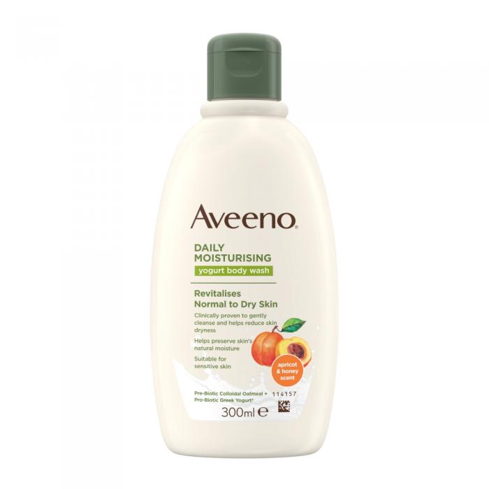 AVEENO kasdienis drėkinamasis jogurtinis kūno prausiklis, abrikosų ir medaus kvapo, 300 ml