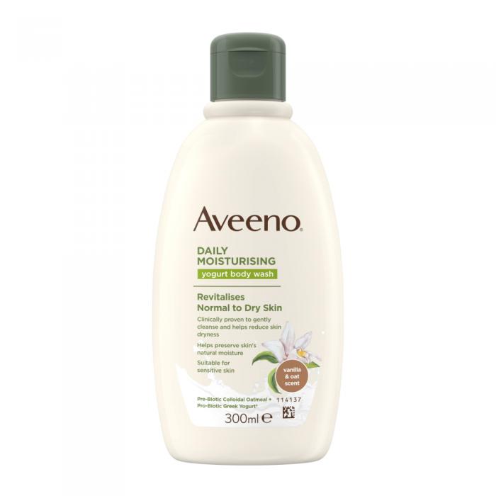 AVEENO kasdienis drėkinamasis jogurtinis kūno prausiklis, vanilės ir avižų kvapo, 300 ml