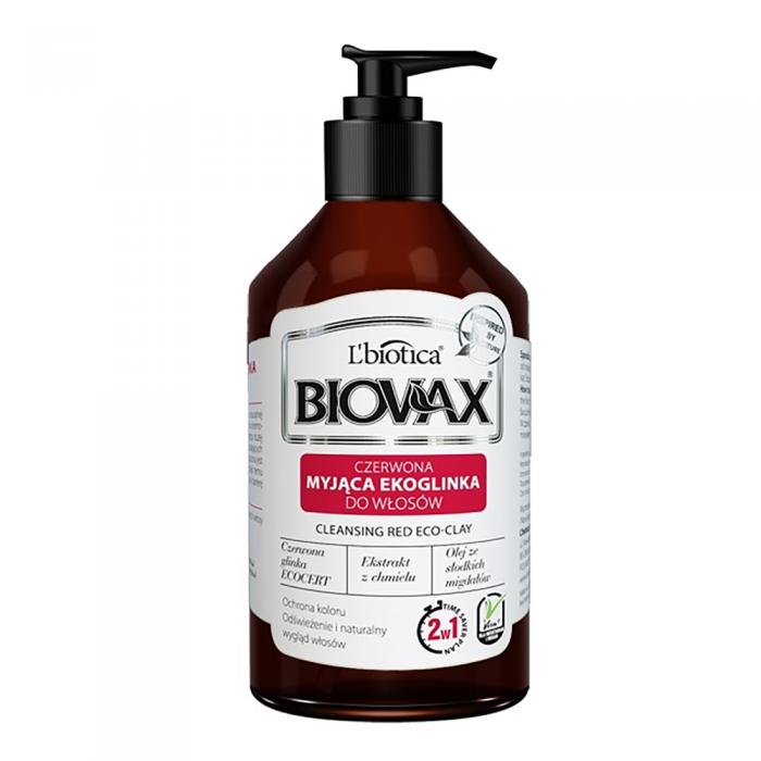 L'BIOTICA BIOVAX prausiamasis šampūnas-kondicionierius su raudonuoju moliu 2in1, 200 ml