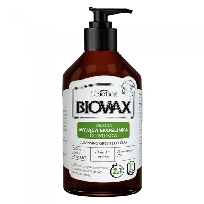 L'BIOTICA BIOVAX prausiamasis šampūnas-kondicionierius su žaliuoju moliu 2in1, 200 ml