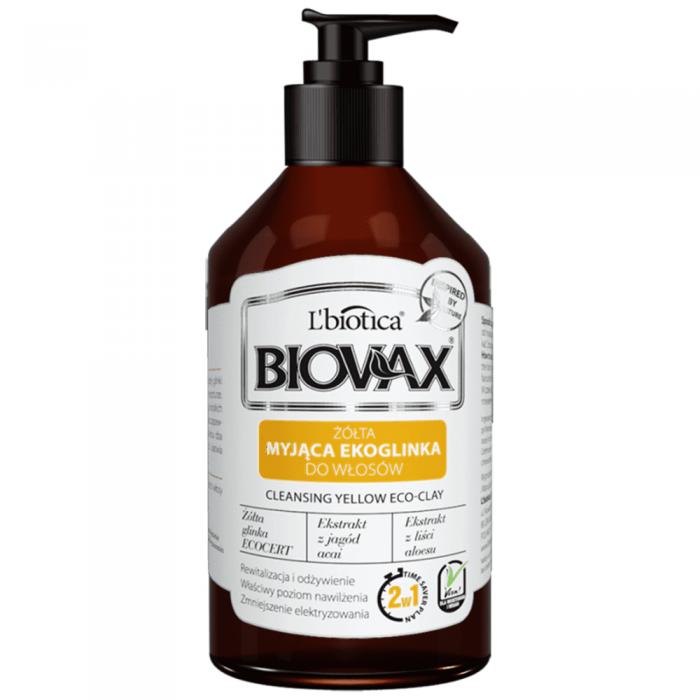 L'BIOTICA BIOVAX prausiamasis šampūnas-kondicionierius su geltonuoju moliu 2in1, 200 ml