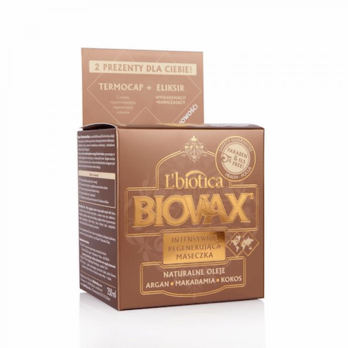 BIOVAX  intensyvaus poveikio kaukė su arganų, makadamijų ir kokosų aliejais, 250 ml