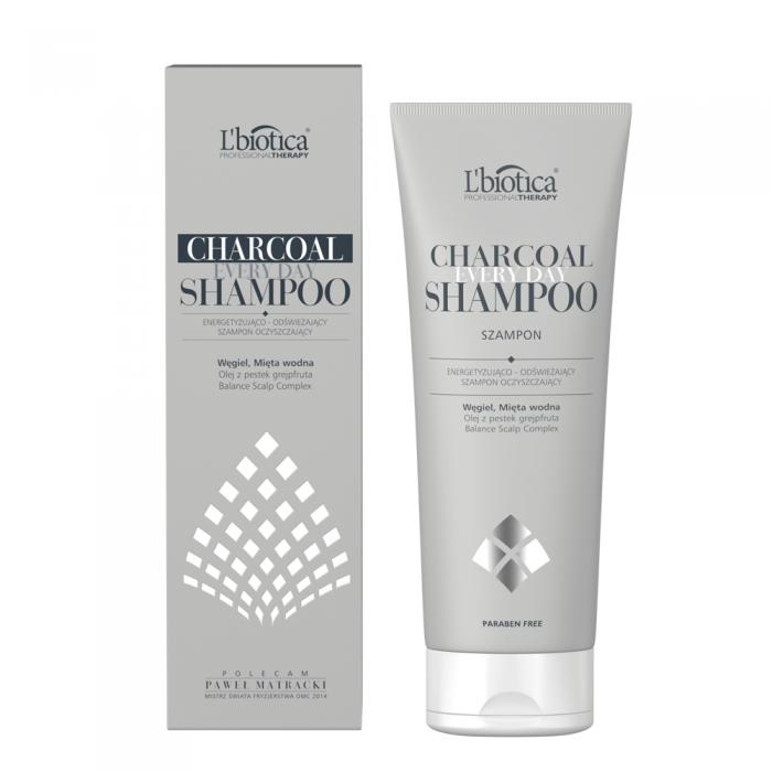 L'BIOTICA energizuojamasis ir gaivinamasis valomasis šampūnas CHARCOAL, 250ml