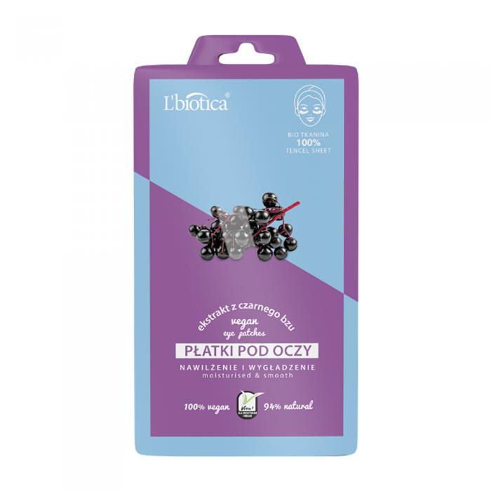 L'BIOTICA veganiški drėkinamieji glotninamieji paakių lapeliai su šeivamedžių ekstraktu, 2 vnt.