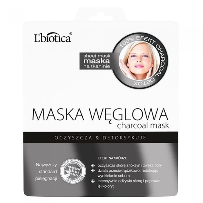 L'BIOTICA lakštinė veido kaukė su anglimi, 23 ml