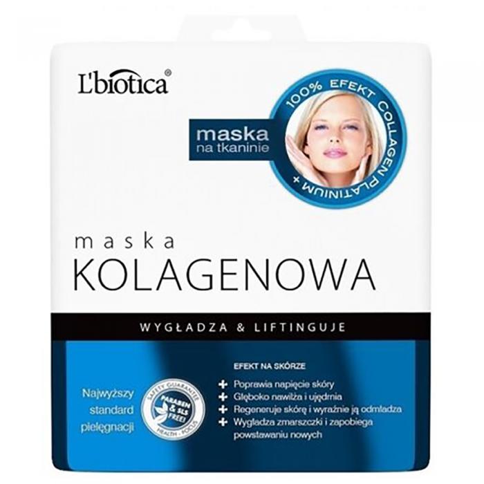 L'BIOTICA HOME SPA lakštinė veido kaukė su kolagenu, 23 ml