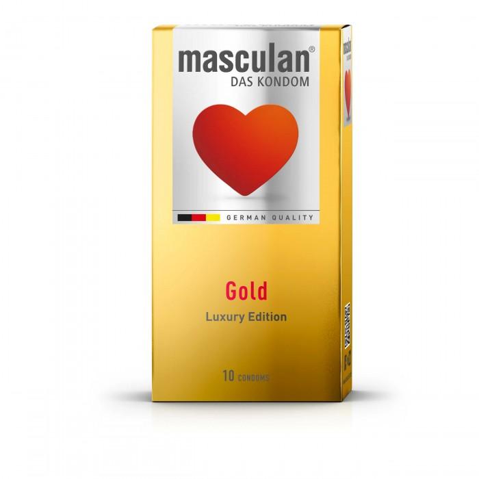 MASCULAN prezervatyvai su aukso žvilgesiu GOLD, 10 vnt.